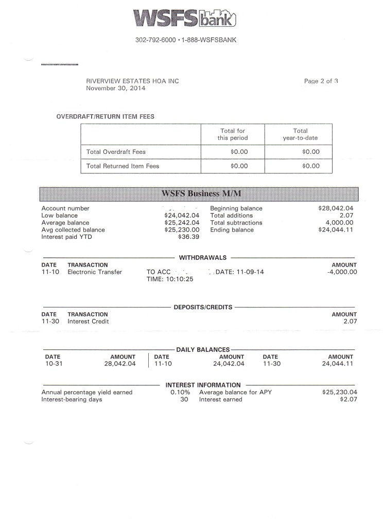 Riverview Estates Bank Statement November 30, 2014 Page 2