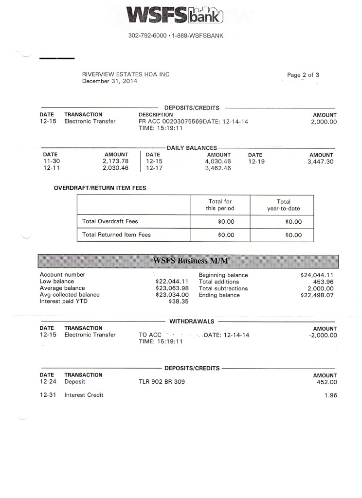 Riverview Bank Statement December 31 2014 Page 2