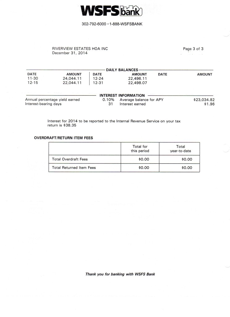 Riverview Bank Statement December 31 2014 Page 3