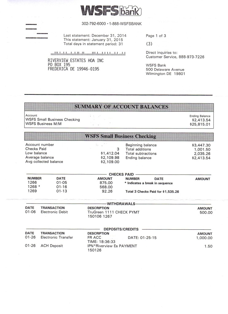 Riverview Bank Statement January 31 2015 Page 1
