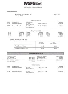Riverview Bank Statement July 31 2015 Page 2
