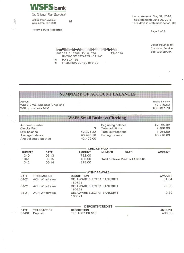 Riverview Bank Statement June 30 2016 Page 1