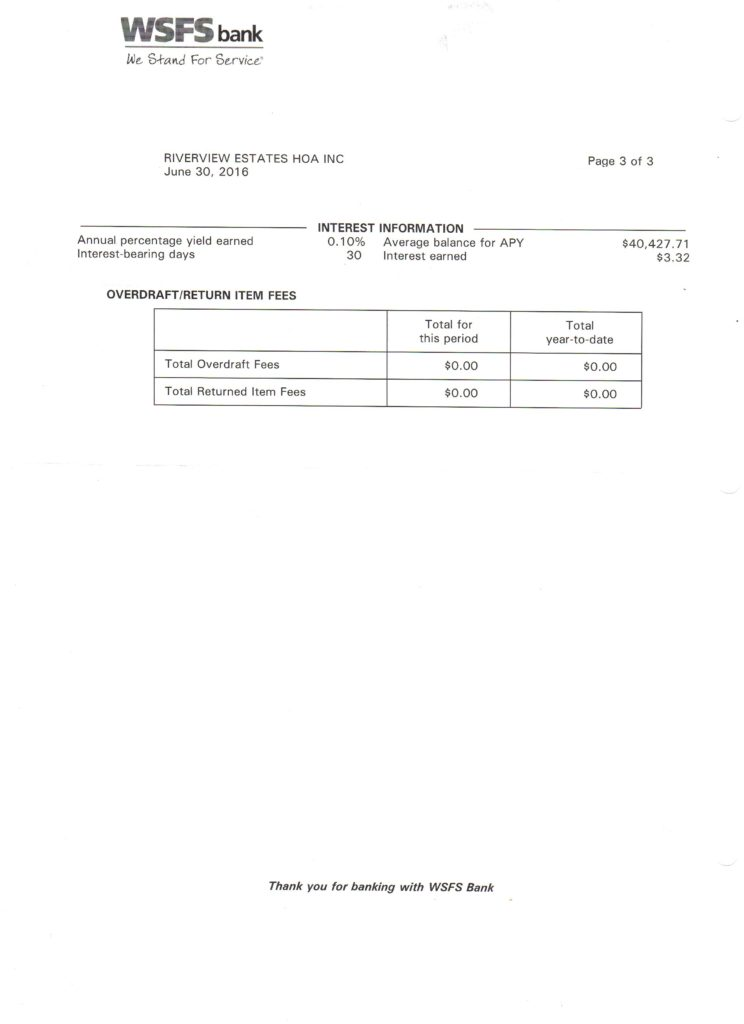 Riverview Bank Statement June 30 2016 Page 3